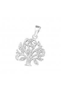 fe7ddae5d Strieborný prívesok Strom života s krištálikmi