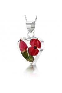 5a6e90790 Strieborný prívesok Kvety Divé maky a Ruža - Srdce