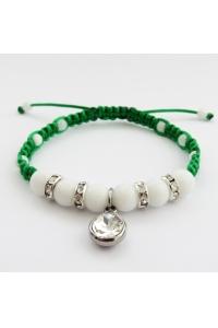 067de93f7 Náramok pletený zelený Jadeit biely - krištáľ