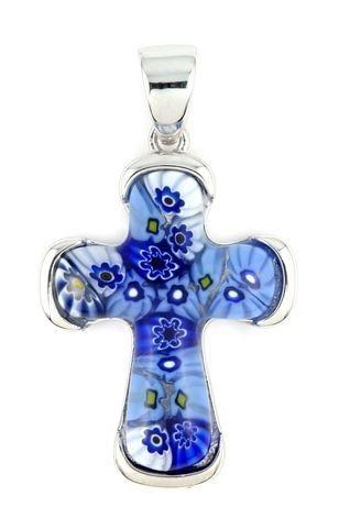 d3add6d35 Obrázok pre Strieborný prívesok Millefiori Krížik modrý