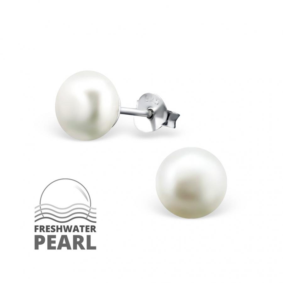 a595776a5 Obrázok pre Strieborné náušnice napichovacie Perlové guličky biele