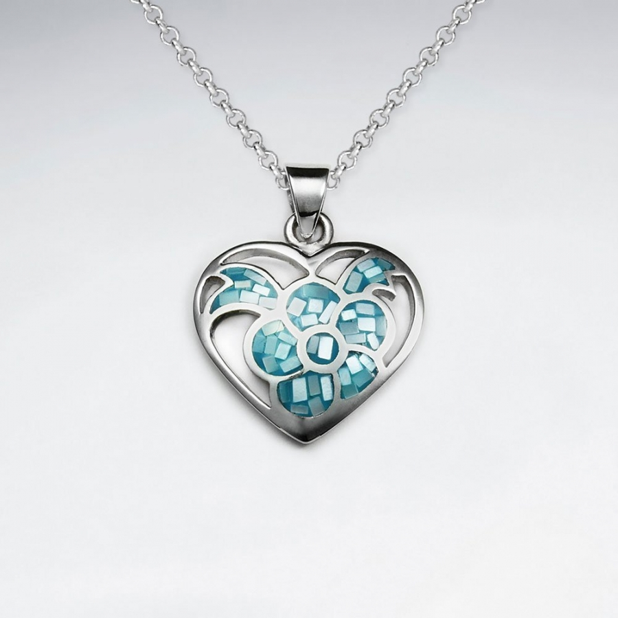 Obrázok pre Strieborný prívesok Srdce perleťové modré 9404f966def
